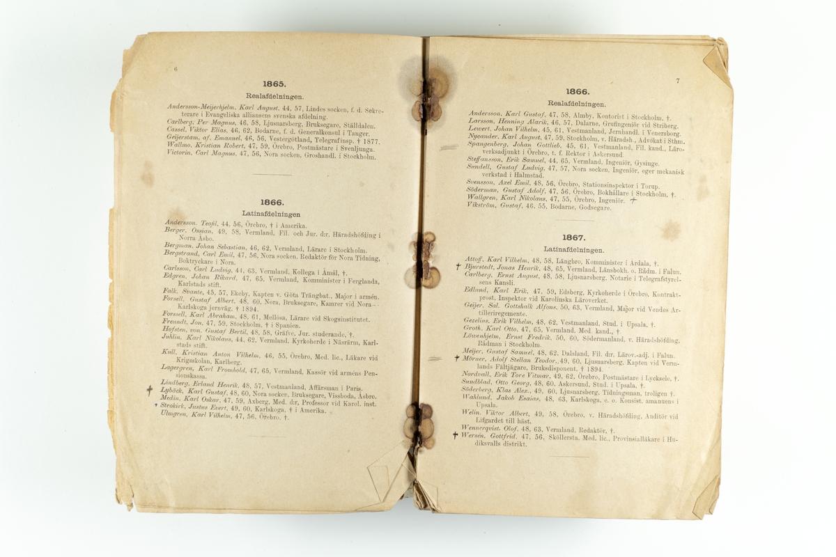 """En katalog """"Örebro studenter 1864-1888"""" vid Karolinska läroverket."""