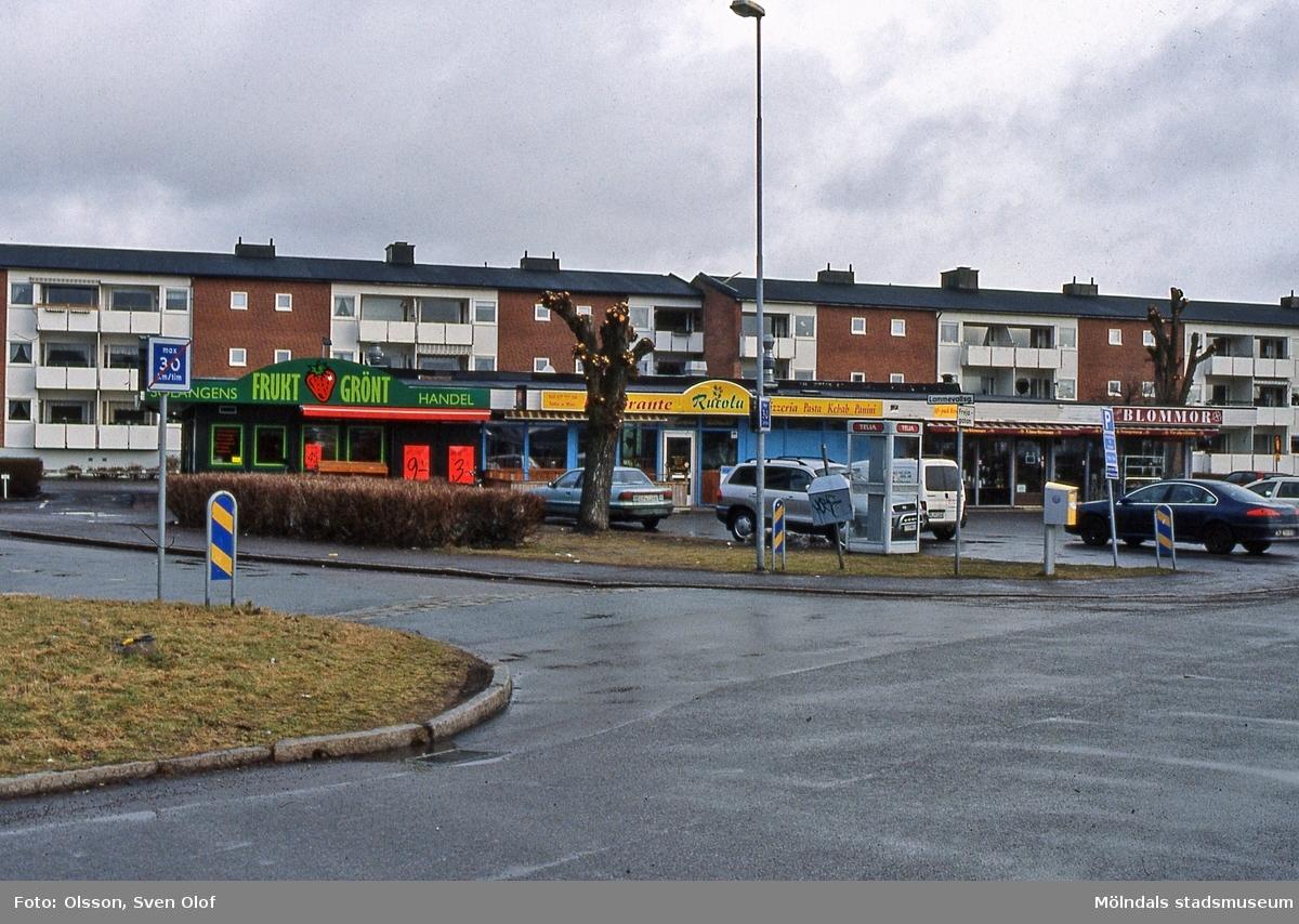 Affärsbyggnad med adress Frejagatan 9 i Solängen, Mölndal, i februari 2004. Denna affär hette Stjärnlivs från början och ända tills Edvardssons sålde den. Även en blomsteraffär finns i huset. I bakgrunden ses även bostadsbebyggelse vid Lammevallsgatan och Frejagatan.