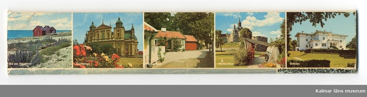 På asken finns bilder av Störlinge kvarnar, Ölandsbron, Kalmar slott, Blå eld i Byxelkrok, Kalmar Domkyrka, Gamla staden i Kalmar, Stadsparken i Kalmar och Solliden slott på Öland.
