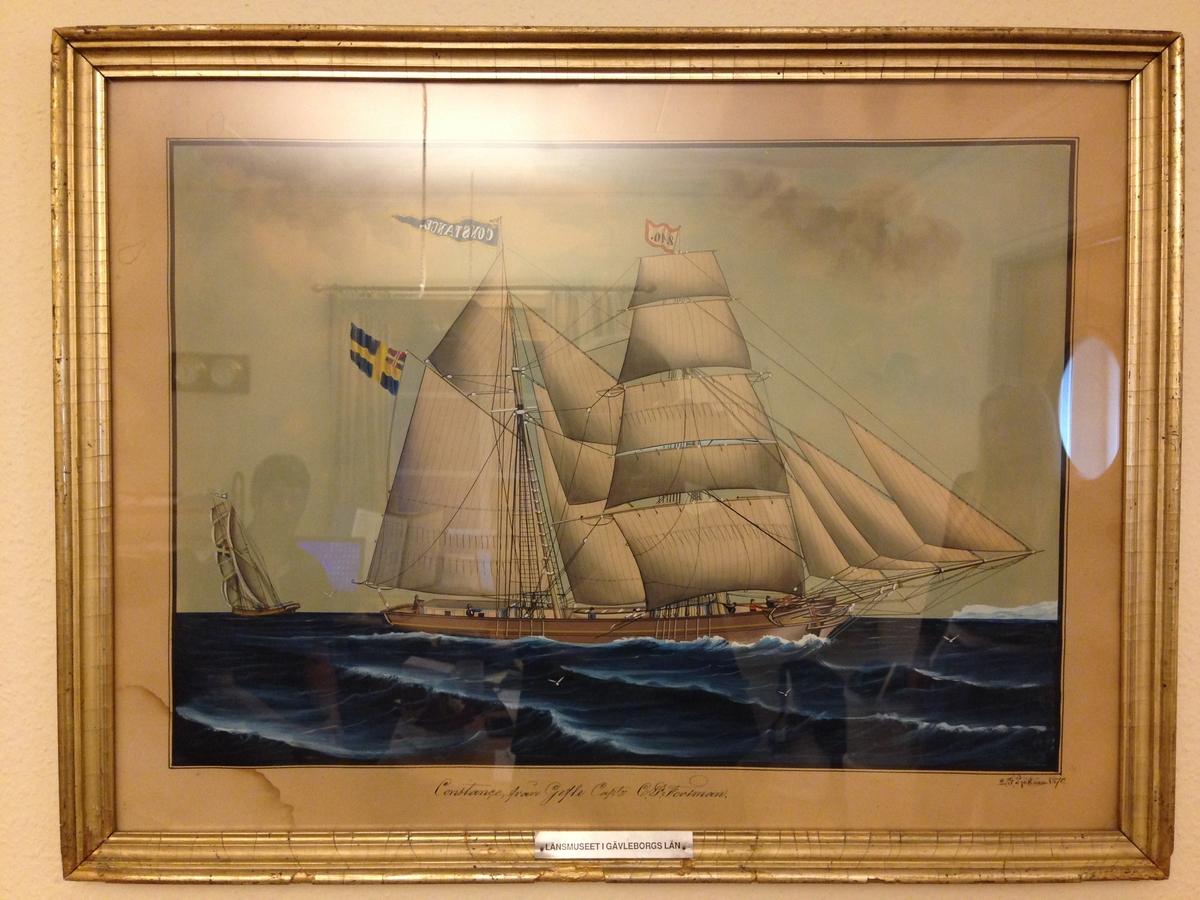 """Akvarell, """"Skonerten Constance"""" av Lars Petter Sjöström 1870."""
