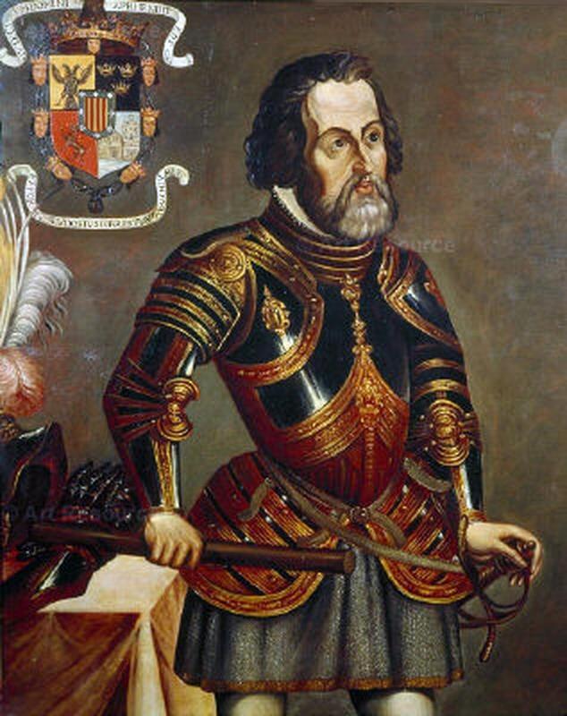 Hernando Cortez, en av de mange spanske conquistadorer. Av anonym (Wikimedia commons