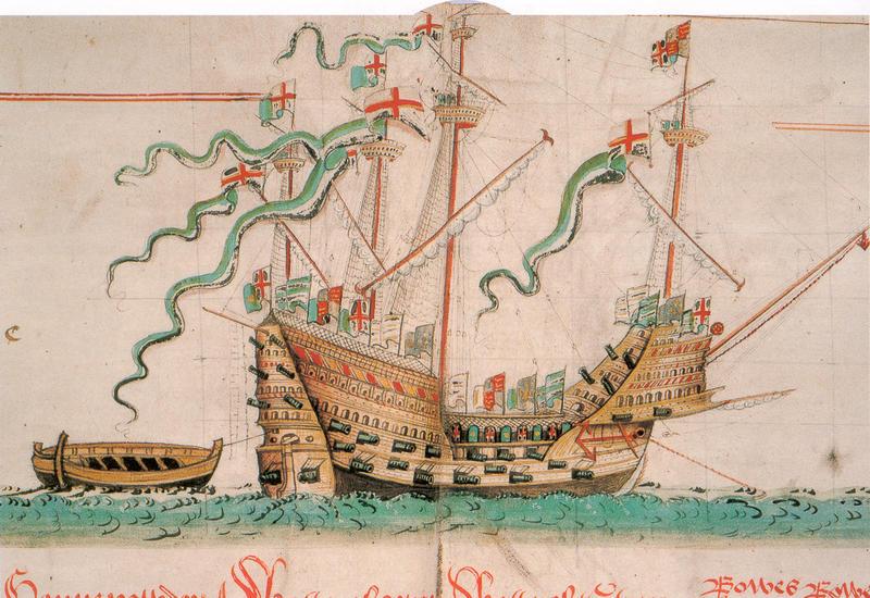 Henrik VIII stolte krigsskip, karakken Mary Rose, som sank i 1547. Original av Anthony Anthony (Wikimedia commons ).