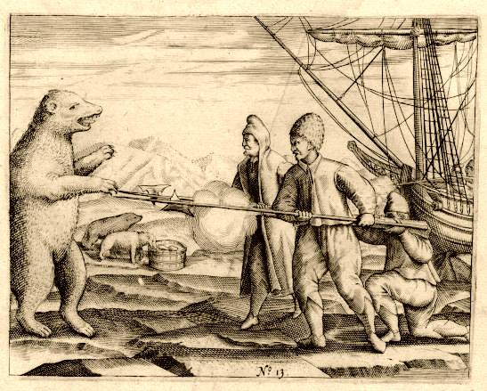 Scene fra Willem Barentsz fortelling fra ekspedisjonen hvor han oppdaget Spitsbergen: En isbjørn nærmer seg Wilhelm Barentz mannskap. (Wikimedia commons ).