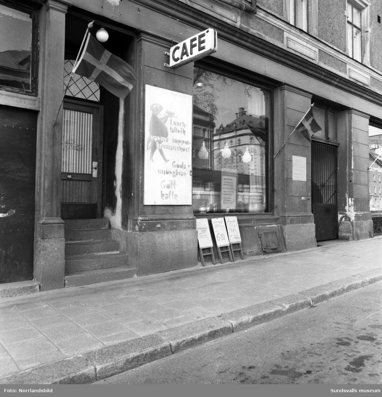 Markussons Café vid Sjögatan 7 lockade med husmanskost och gott kaffe.