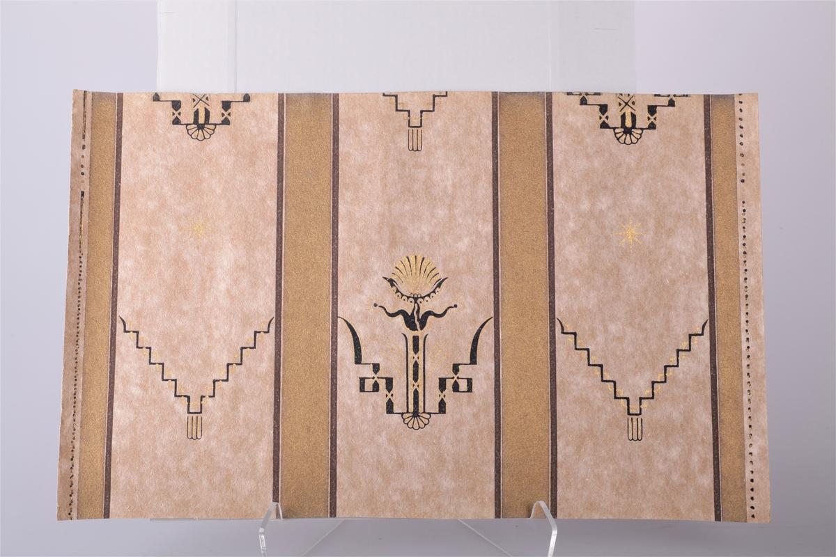 Tapetprøver, 11 stk av flere slag, med ulike mønstre og farger, samt en adresselapp fra Tapetudsalget til mottaker.