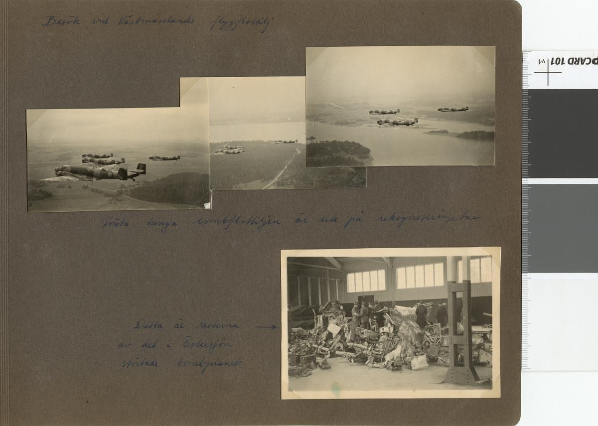 """Text i fotoalbum: """"Besök vid Västmanlands flygflottilj. Första tunga bombflottiljen är ute på rekogniseringstur."""""""