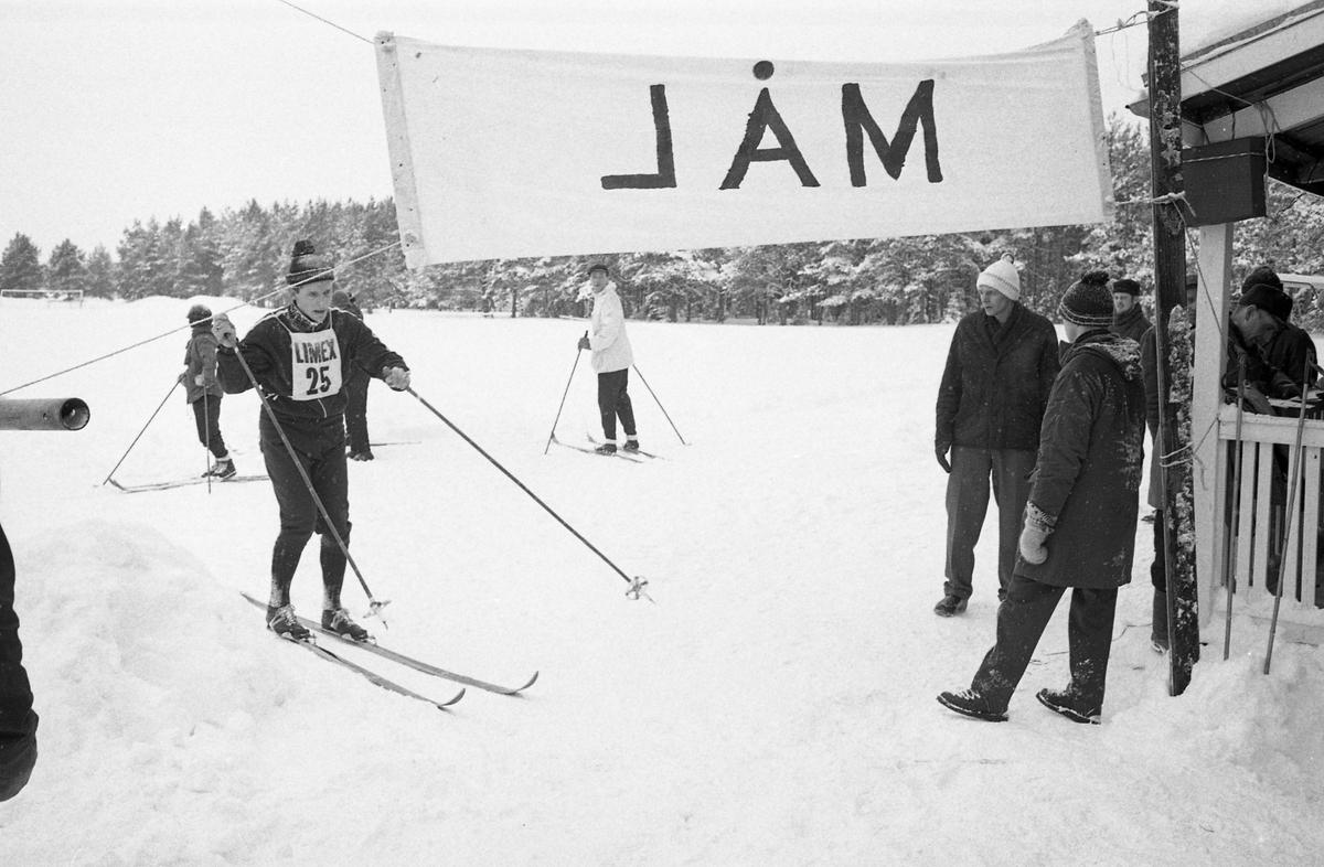 Målgång i skidtävlingen AT-loppet. Skidåkare med nummerlapp på väg in i mål. Publik. (AT kan betyda Arboga Tidning)