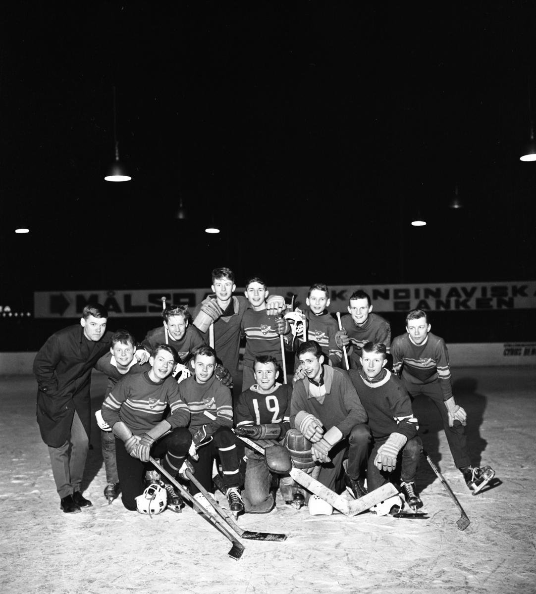 """Segrande lag i kvartershockey. Bakre raden, från vänster: Kaj Linde, Ulf Breid, okänd, okänd, okänd, Jan Linde, okänd, okänd, okänd Främre raden, från vänster: okänd, Rolf Jahrl, """"Mille"""", Lars Weiss och okänd"""