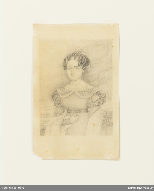 Porträttet föreställer lektorskan Sophia Christina Wimmerstedt, född Qvarnström (fosterdotter hos landshövding Adlersparre).