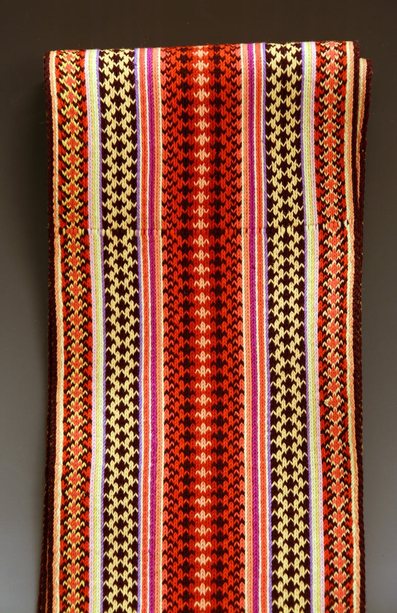 Fra protokollen: Kvendeklædning fraa Heitdal, sauma til brurebunad i 1860-aari: A) Stakk av svart klæde med kant av bordur B) Umslagstrøye av svart klæde med raud, rosut bord til kant C) Svart silkefyrklæde (taft) med 3-dubbel silkebord D) Sokkar av svart klæde, med rosesaum E) Belte, vovi F) Rutut silkeplagg til skautet G) Hovudplagg av ullmousselin H) Haarband I) Fyrklædband K) Overdeil med kvarde.  Belte i brikkevev teknikk. I den ene enden er det lange frynser av renningen.