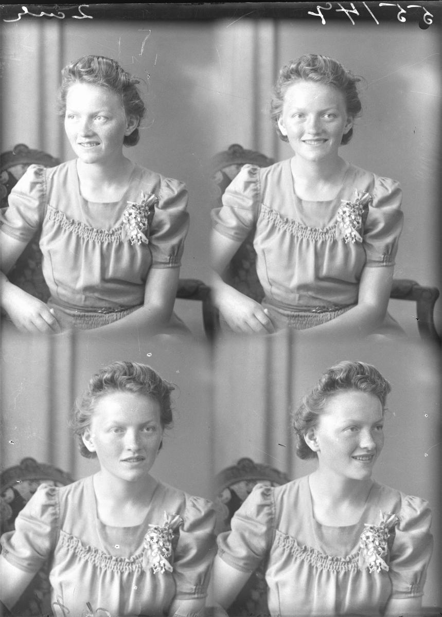 Portrett. Ung mørkblond kvinne i lys farget kjole med korte ermer og rusjer i front. Plomsterpynt på venstresiden av brystet.. Bestillt av Ingeborg Emberland. Tjernagel.