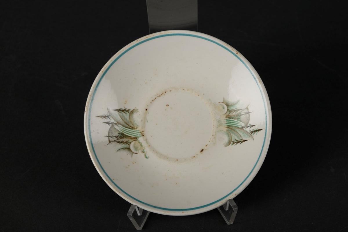 Hvitt tefat dekorert med to natur-bilder, og en grønn sirkel rundt kanten.