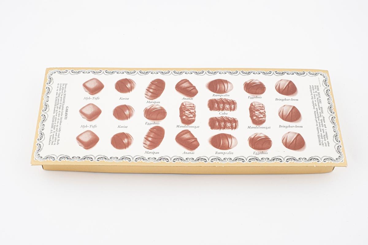 Motiver av forskjellige typer sjokolade på undersiden.