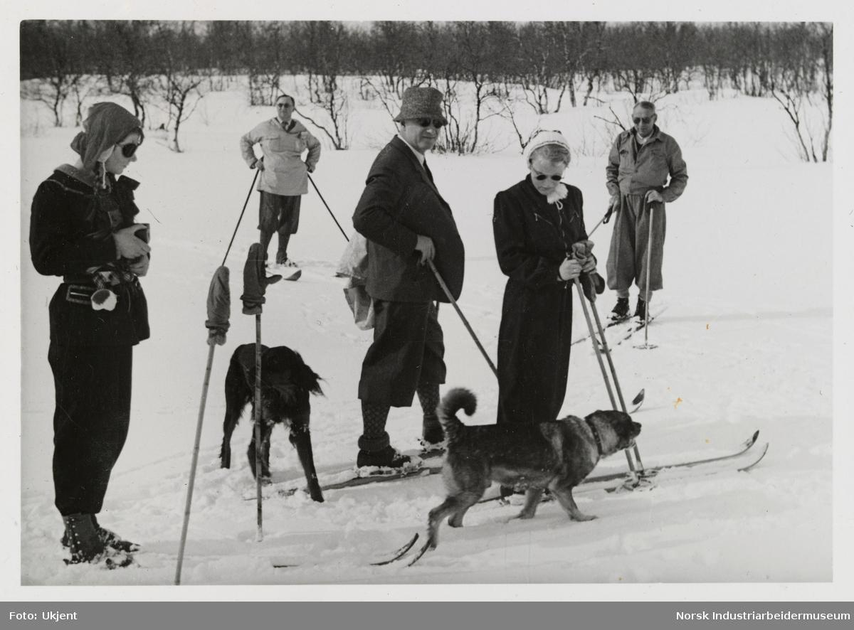 Mennesker på skitur med to hunder