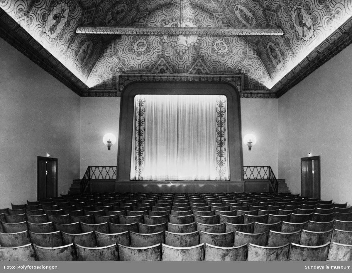 Svea-biografen, Esplanaden 15, Sundsvall. Scen och parkett.