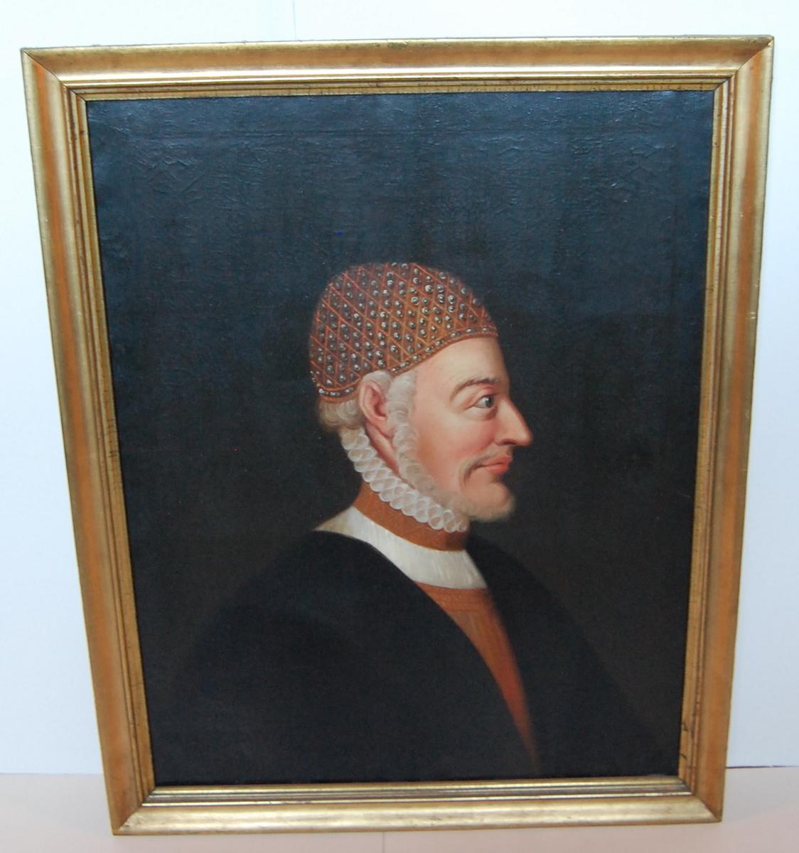 Olje på lerret, forgylt profilert ramme, profilportrett av Fredrik 1.