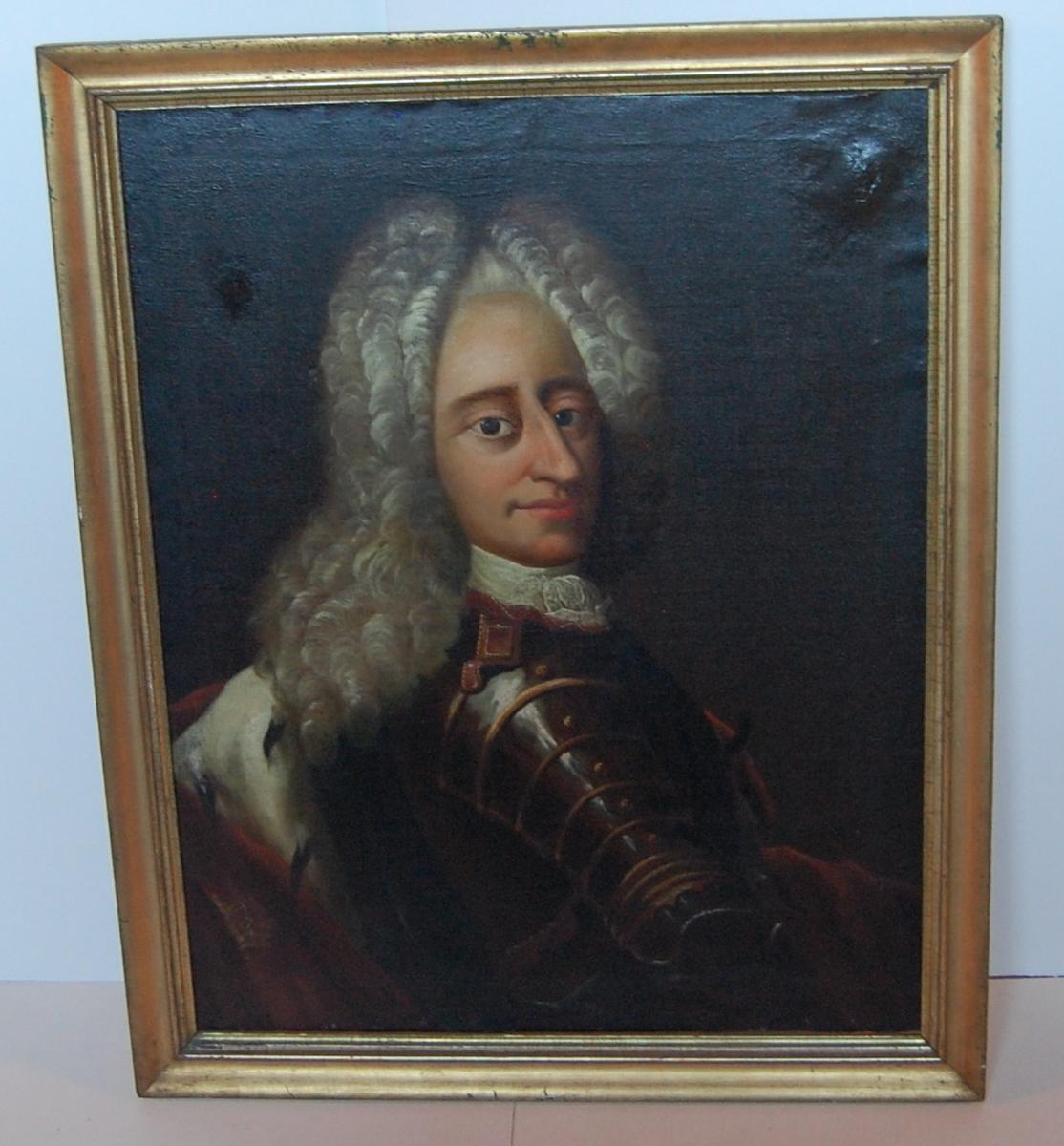 Olje på lerret, forgylt profilert ramme, portrett av Fredrik IV.