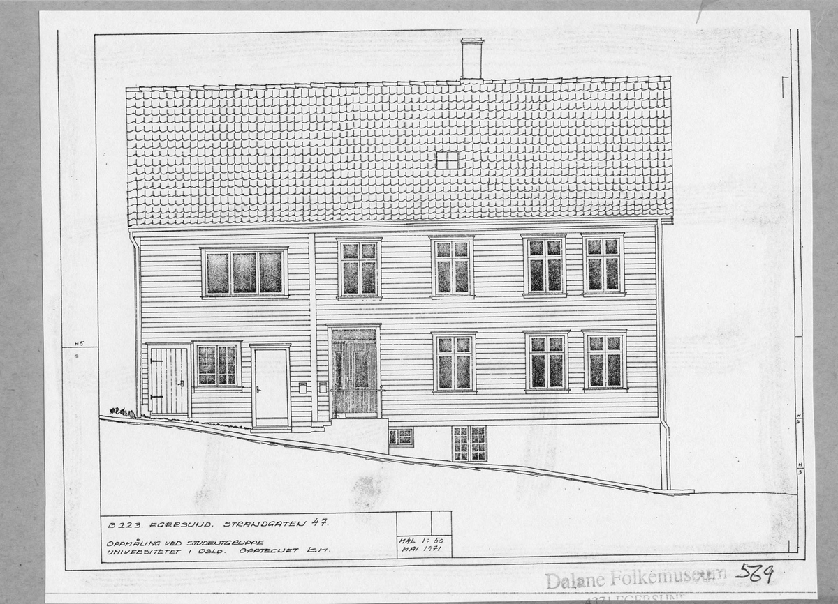 Strandgaten 47, Egersund, tegning