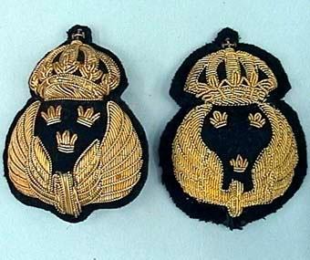 Tre olika mössmärken med guldfärgat metallbroderi på svart botten av kläde. Dessa märken handbroderades, därför förekommer en mängd olika utseenden eftersom de olika brodöserna eller brodörerna inte broderade precis likadant. Det syns tydligt på dessa tre exemplar. De har även tre olika fastsättningvarianter: 1) En enkel nål som är för fastsättning på pälsmössa. 2) En tunga av metall som ska sitta bakom ett mössband 3) nål med skena för att kunna sätta fast ett tjänstetecken i form av bricka klädd med t ex rött tyg för tågklarerare se Jvm 13910.