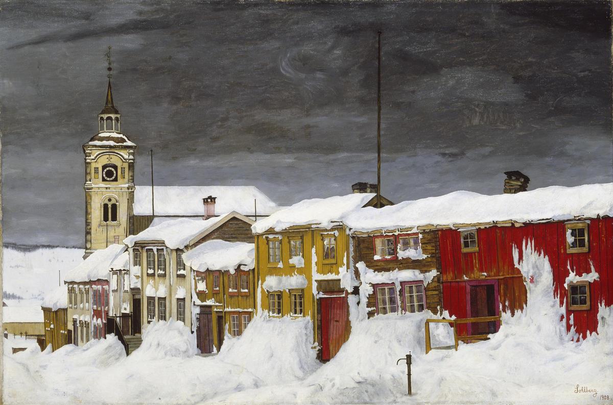 Harald Sohlberg, Gate i Røros, 1903. Nasjonalmuseet.