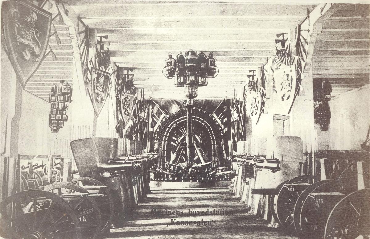 Våpensalen i magasin Bved KJV som ble ødelagt ved bombingen 23. februar 1845