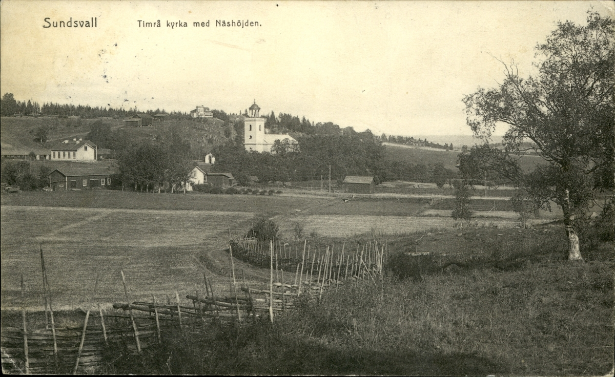Vykort med motiv över Timrå kyrka med Näshöjden.
