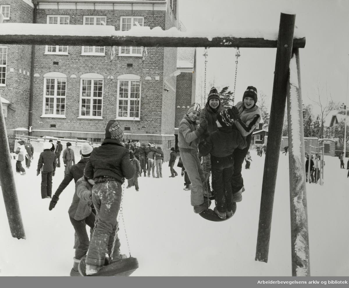 Nordstrand skole. Januar 1979