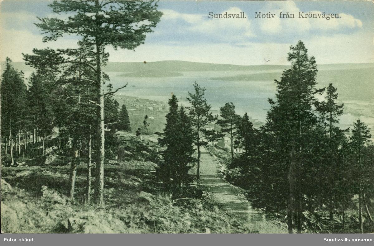 Vykort med motiv över Sundsvalls inlopp från Krönvägen.