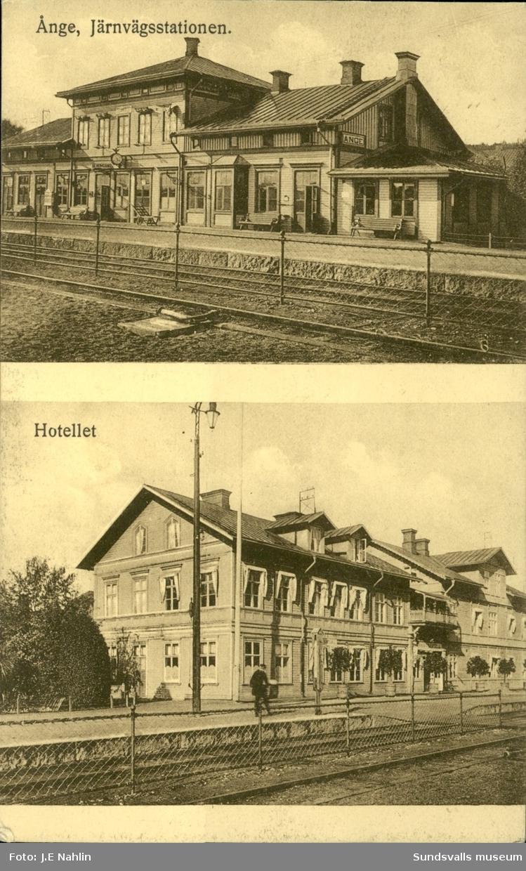 Vykort med motiv över stationen- och järnvägshotellet i Ånge.