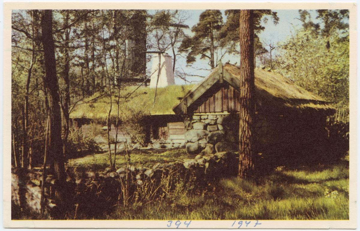 Vykort med motiv från Skansen. Hornborgastugan, Västergötland.