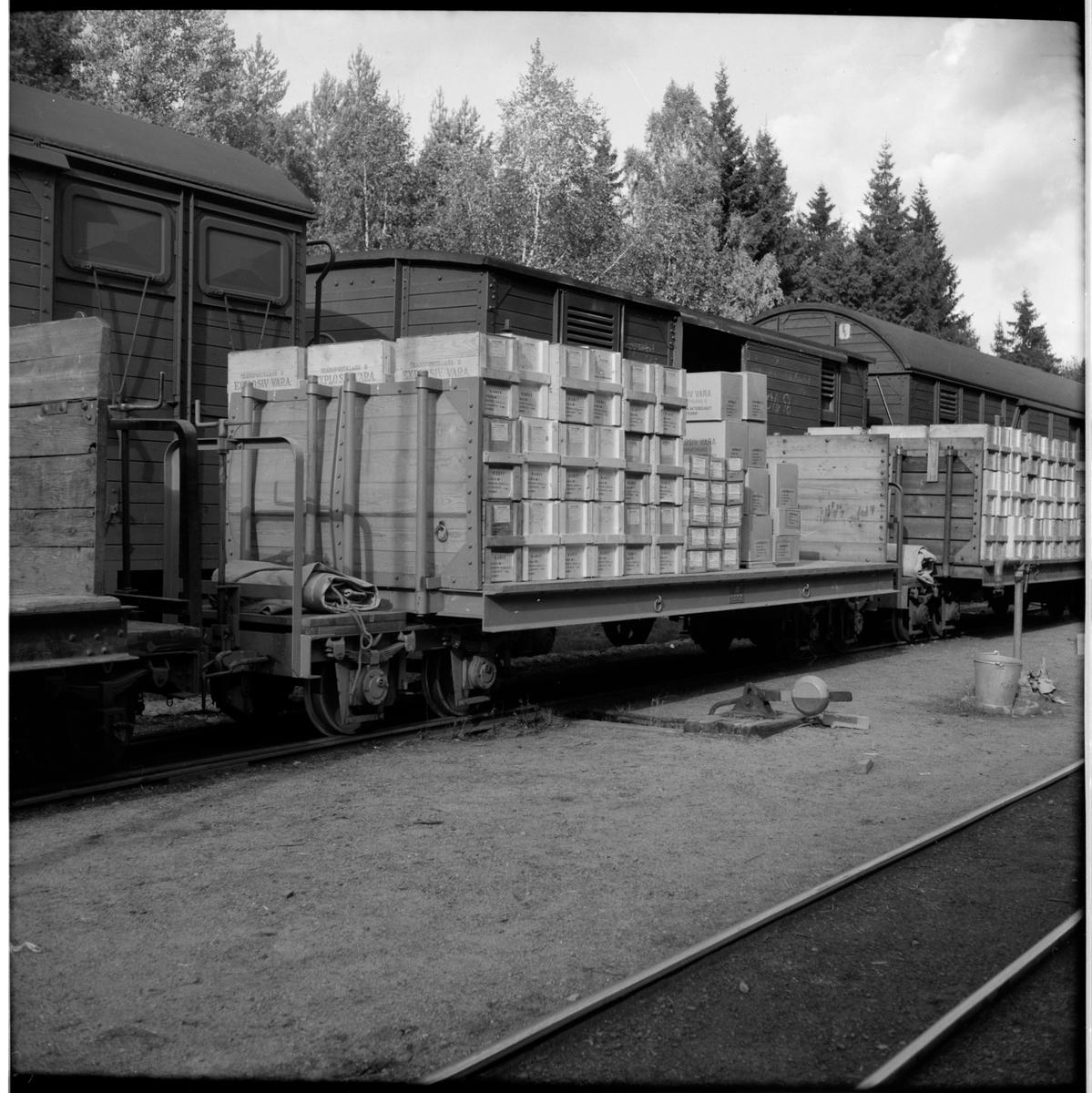 Godsvagnar lastade med lådor innehållande explosiv vara.