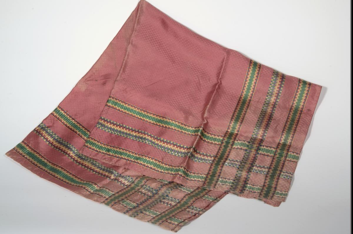 Kypert i gåsøymønster, rødt, bord av 3 striper med brosjert mønster i gult/grønt/rødt/lilla/mørkblå