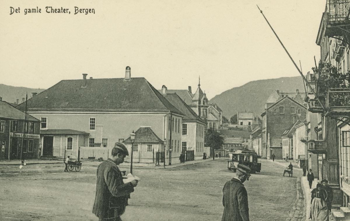 Bergen. Teatergaten, Det gamle teater. Utgiver: C. A. Erichsen.