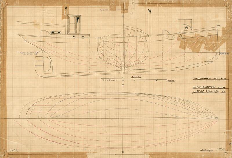 Konstruksjonstegning av en båt på gulnet papir.