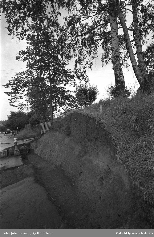 Arkeologisk utgraving av Borgs byvoll mot St. Mariegate i Sarpsborg 1968.