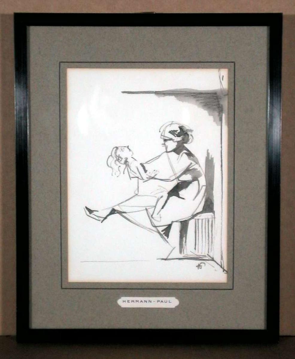 Kvinne husker barn på kneet, sitter på gelenderet i barneværelset (store Monterrom)