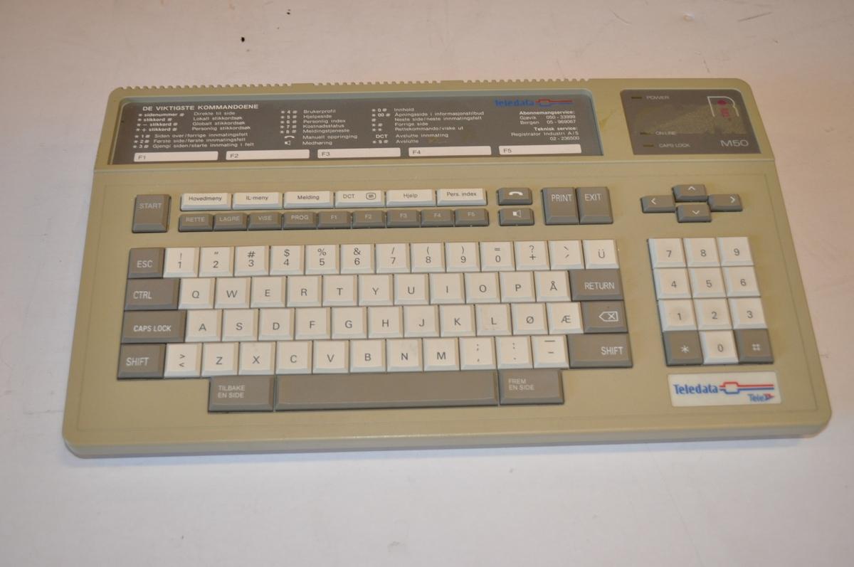 Tastatur for skrankemaskinsystem. Tall og bokstaver for adm. bruk.