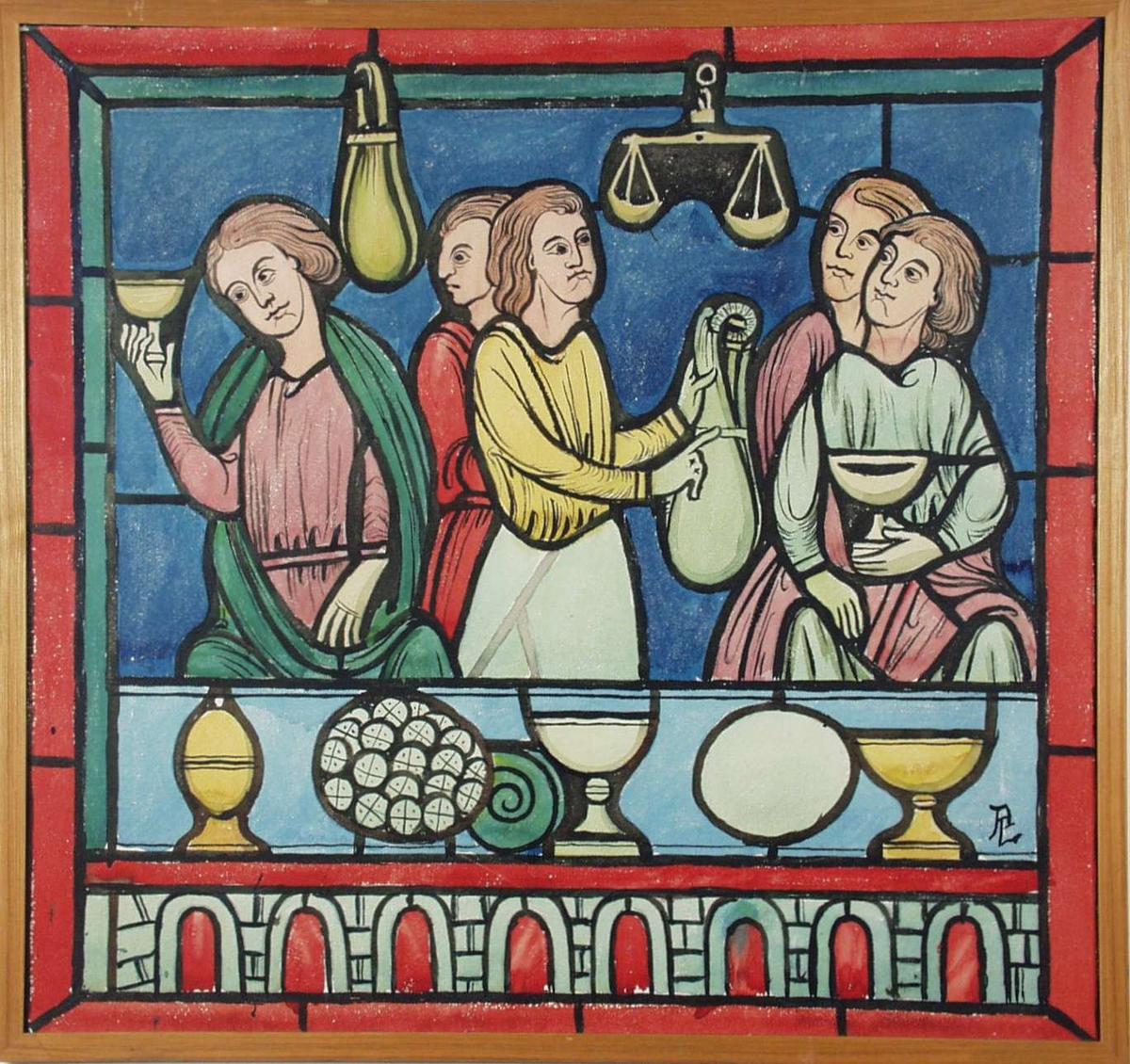 Bilde i middelalderstil. Det viser fem personer med begre, vekter, små sekker etc. Kan likne på et utkast til glassmaleri.