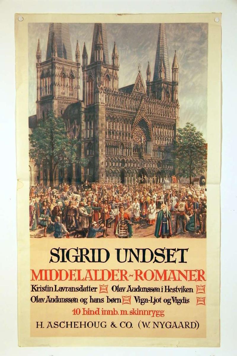 En plakat som reklamerer for S.U.s middelalderromaner, innbundet med skinnrygg. Motivet på plakaten er et religiøst opptog (Olsok?) foran vestfronten av Nidarosdomen.