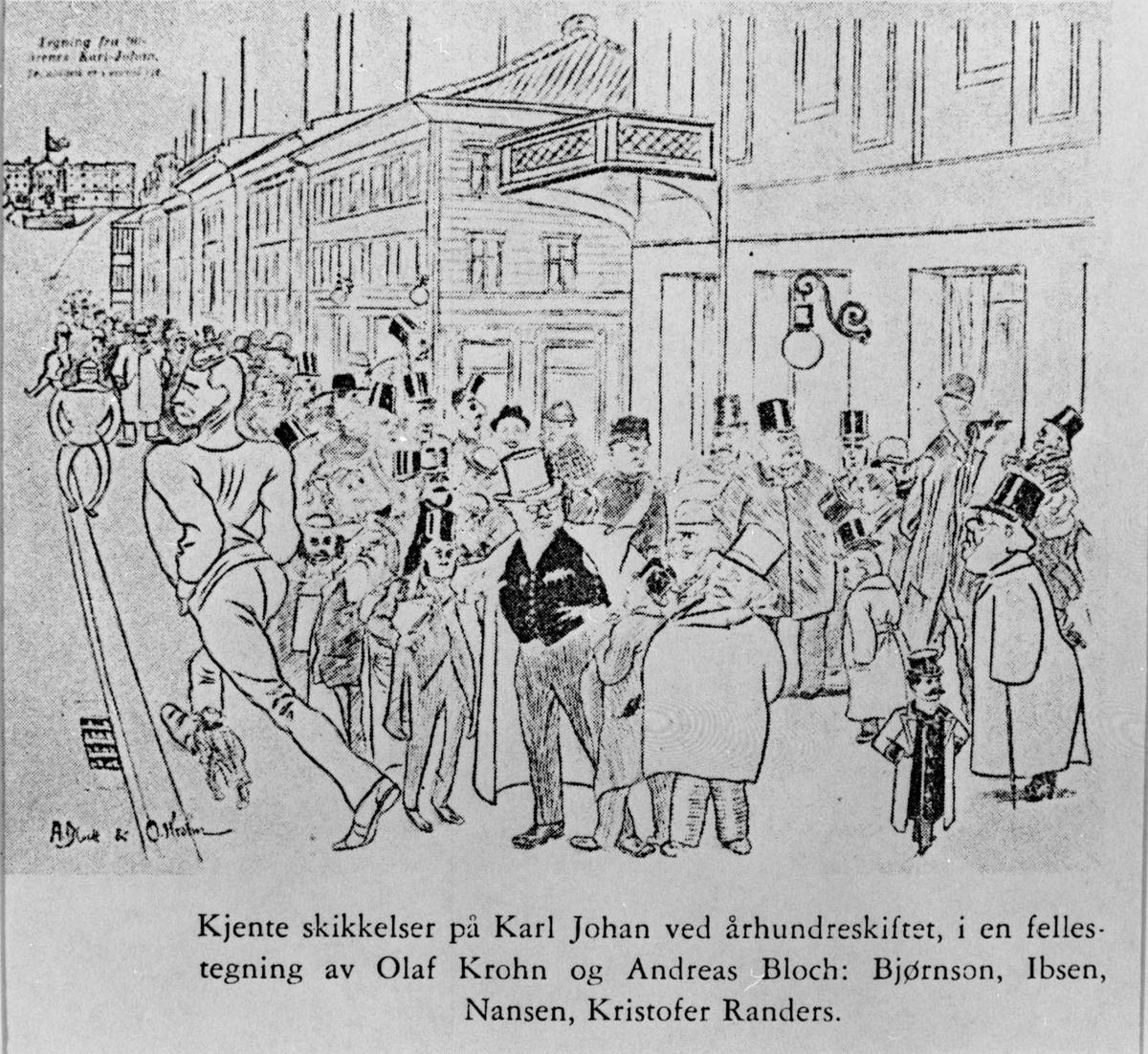Karikatur, Karl Johan, Bjørnson, Ibsen, Nansen, Randers,