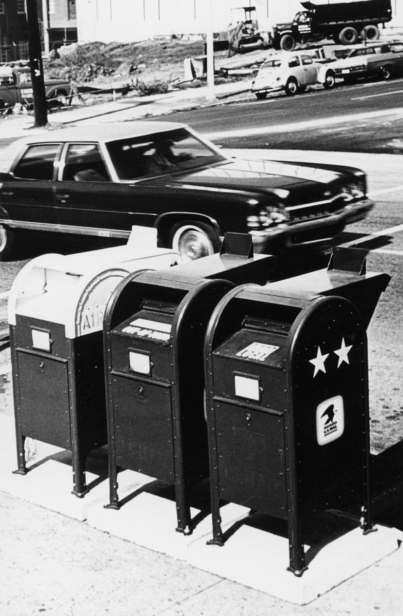 postkasser, utland, amerikansk, biler, by, eksteriør