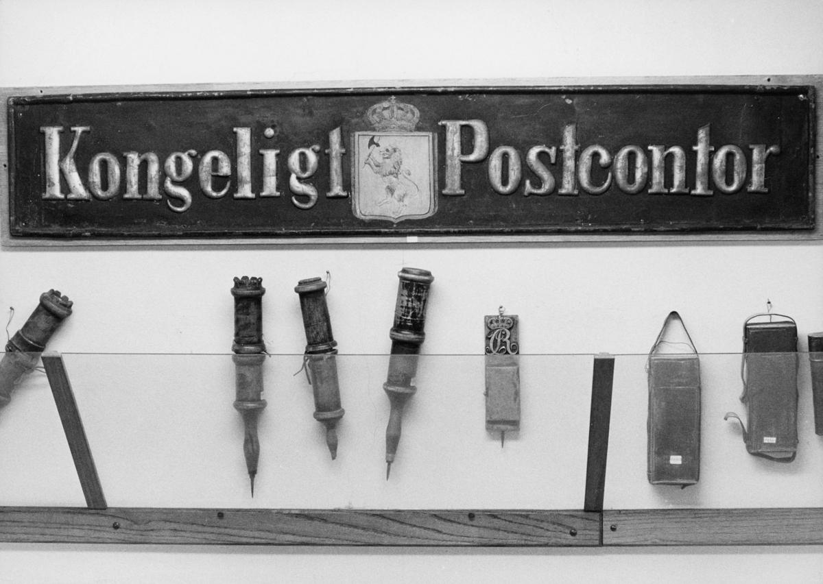 postmuseet, Dronningensgate 15, Oslo, 4. etasje, 1957-1988, Kongeligt postkontor, budstikker, interiør