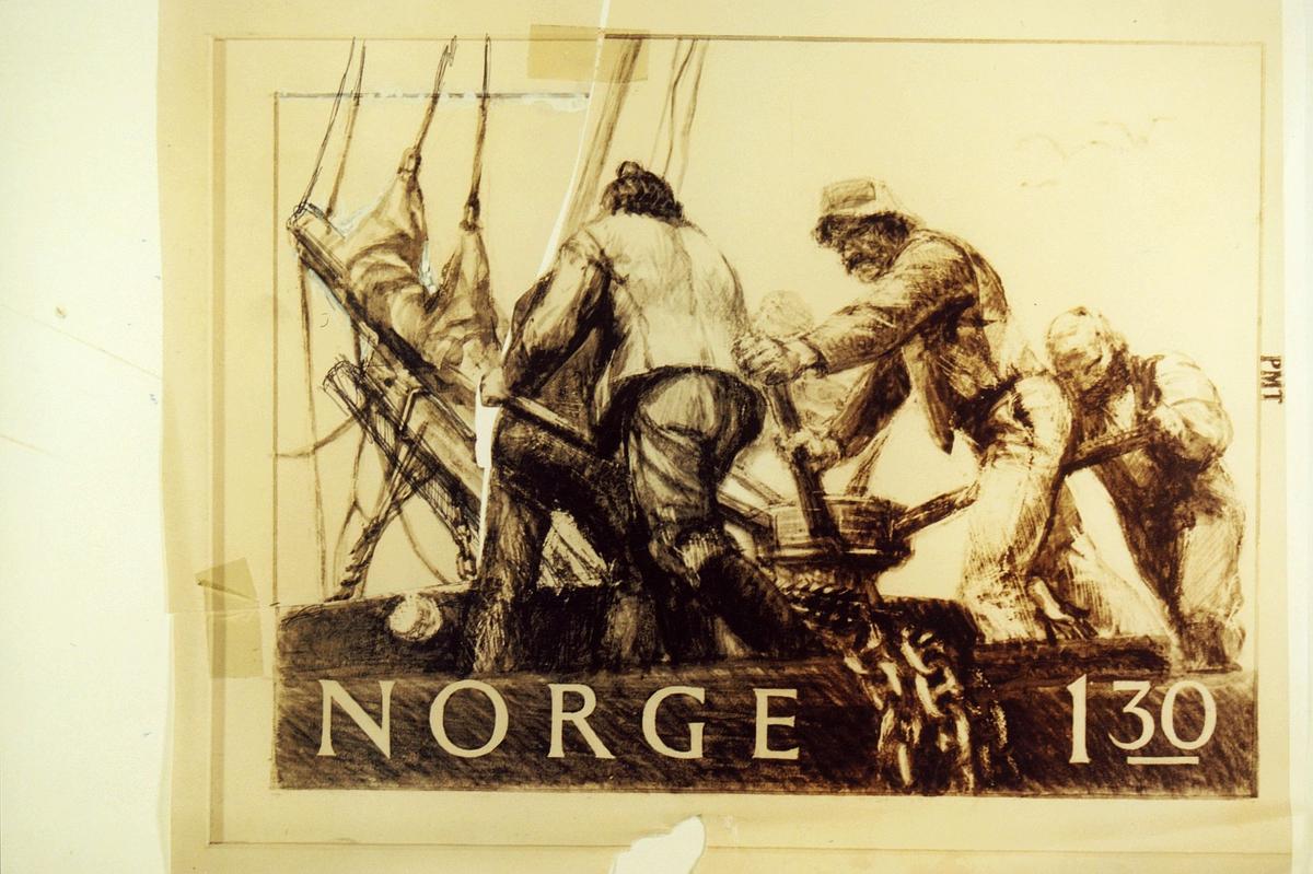 Postmuseet, frimerker, tegning, utkast, NK 886, 4. mai 1981, 1,30 kr, s/hv, seilskipsmotiver, ankeret heves, kunstner: Knut Løkke-Sørensen.