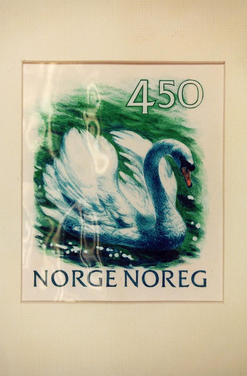 Postmuseet, frimerker, tegning, utkast, NK 1086, 23. februar 1990, 3,20 kr (4,50 på utkastet), flerfarget, norsk fauna III, knoppsvane, kunstner: Knut Løkke-Sørensen.