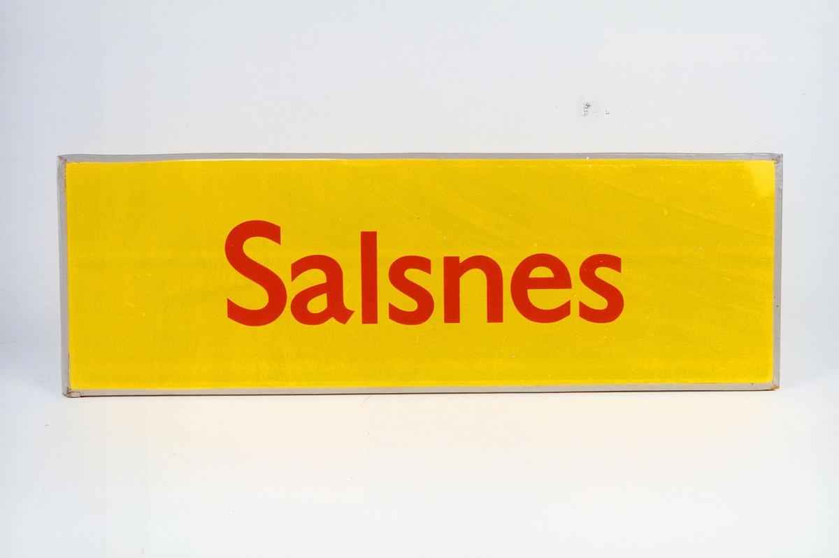 Postmuseet, gjenstander, skilt, stedskilt, stedsnavn, Salsnes.