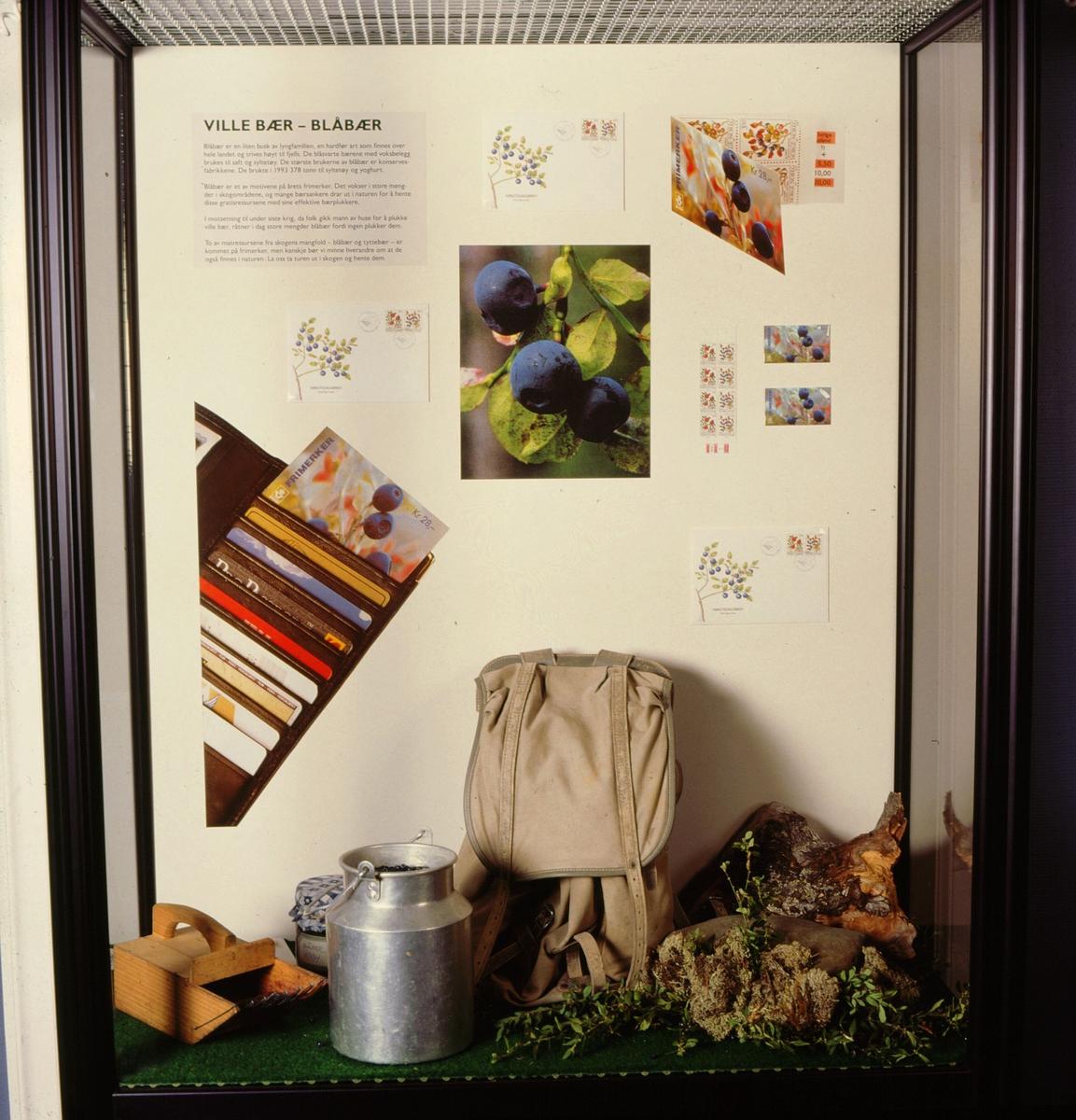 postmuseet, Kirkegata 20, utstilling, frimerker, NK 1224, skogsbær, blåbær, 23. februar 1995, bærplukker, spann, ryggsekk