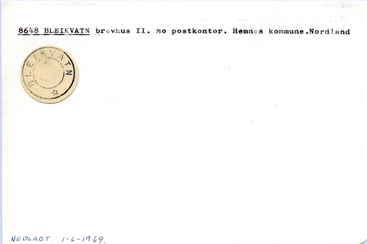 Stempelkatalog. 8648 Bleikvatn brevhus II, Mo postkontor, Hemnes kommune, Nordland