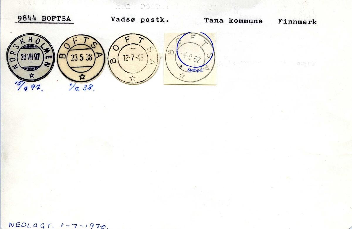 Stempelkatalog, 9844, Boftsa, (Norskholmen), Vadsø, Tana, Finnmark