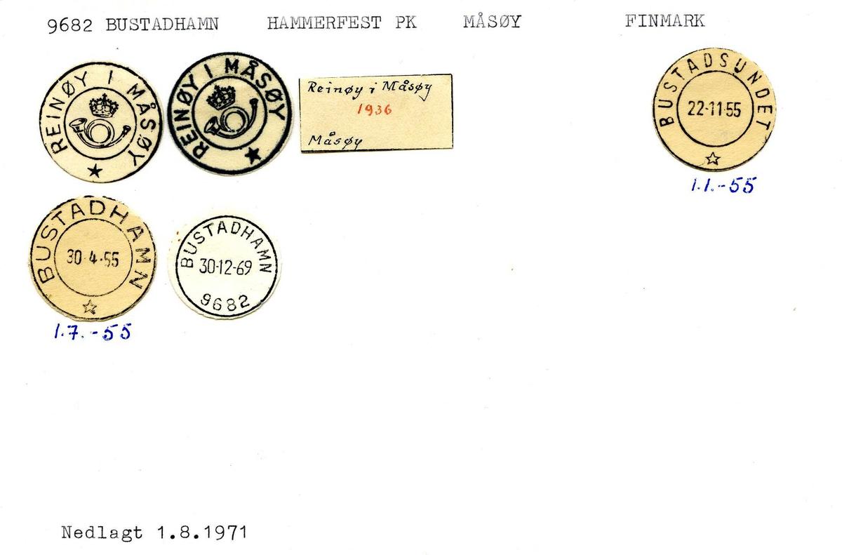 Stempelkatalog, 9682 Bustadhamn. Hammerfest postkontor. Måsøy kommune. Finnmark fylke.