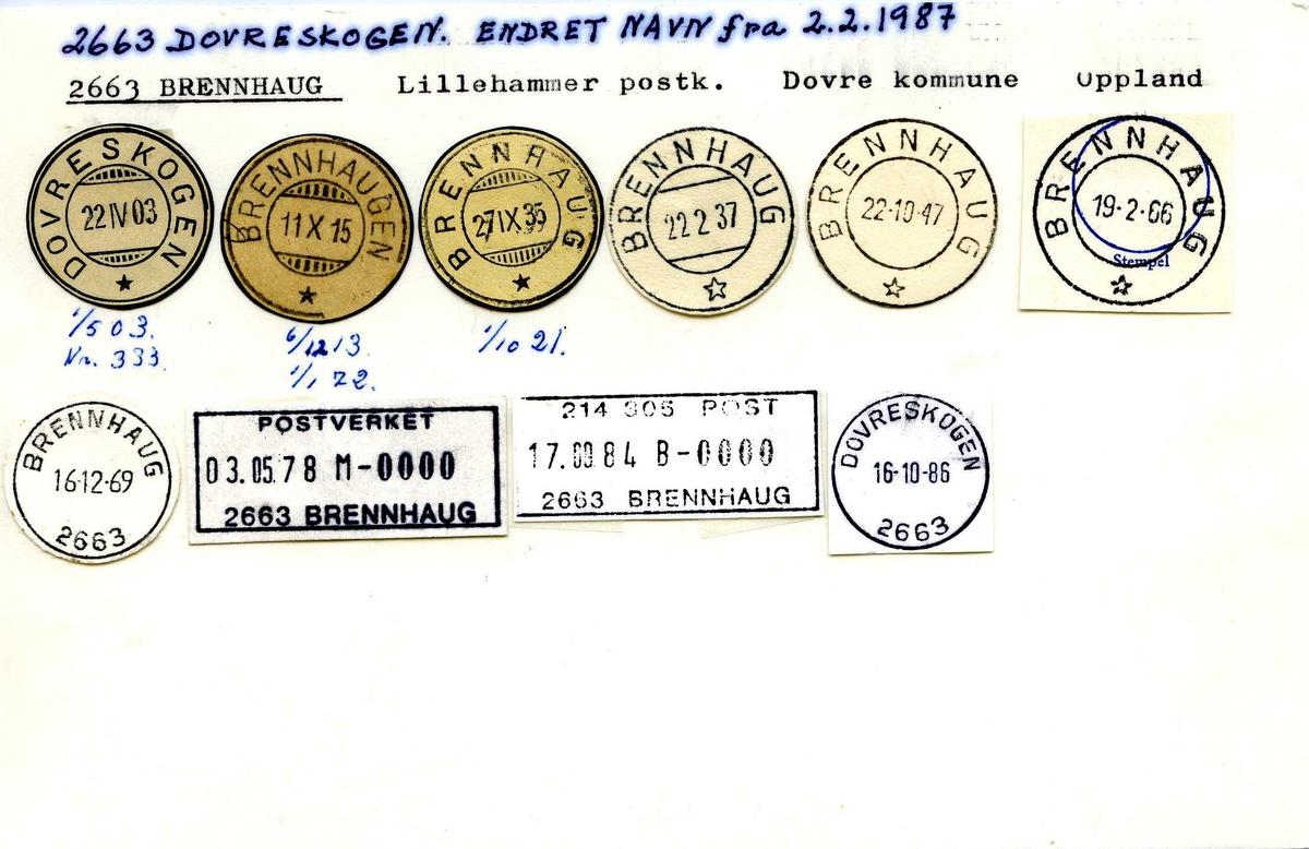 Stempelkatalog, 2663 Dovreskogen (Brennhaugen, Brennhaug), Lillehammer, Dovre, Oppland
